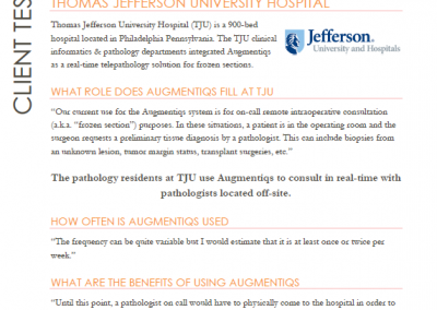 Thomas Jefferson University Client Testimonial